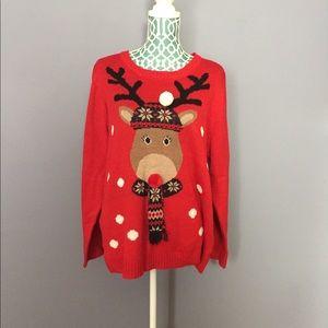 BONGO Plus Red Reindeer Christmas Sweater